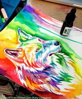 Rainbow Wolf in Progress by Lucky978