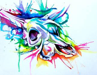 Rainbow Cow Skull Tattoo by Lucky978