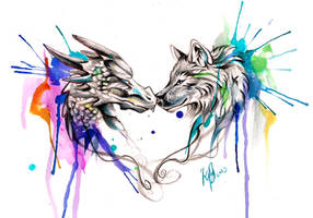 Dragon and Wolf Color Splash Design