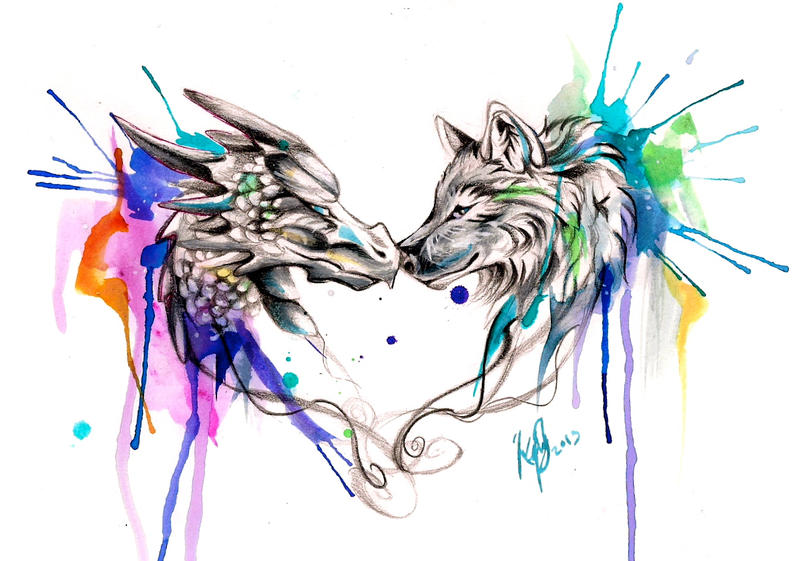 Dragon and Wolf Color Splash Design by Lucky978