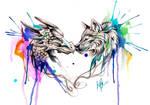 Dragon and Wolf Color Splash Design