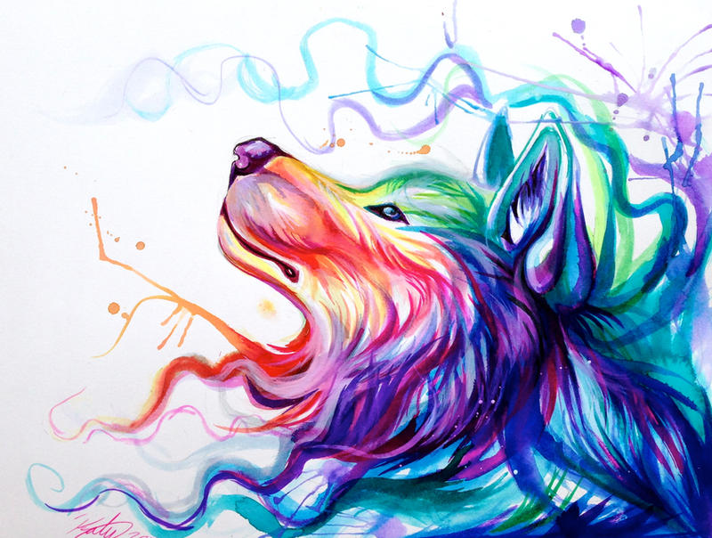Colorful Wolf Paintings Color Wolf by Lucky978