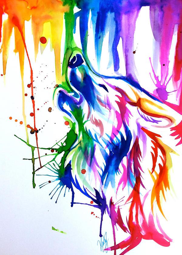 Rainbow Wolf Tattoo Sleeve by Lucky978