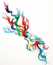 Rainbow Howl Tattoo