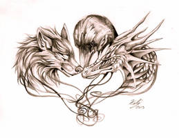 Wolf Dragon and Crow Tattoo