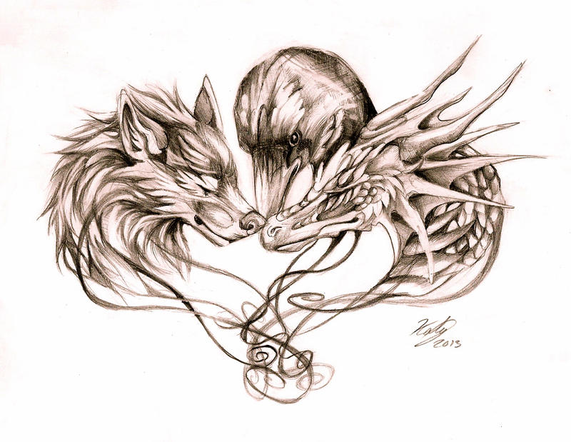 Wolf Dragon and Crow Tattoo by Lucky978
