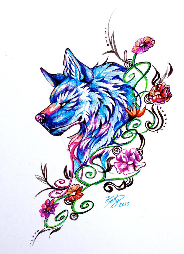 Flower Wolf (Pen) by Lucky978 on DeviantArt