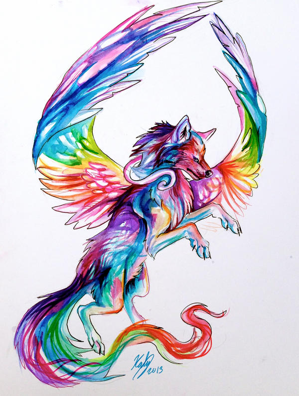 Flying Fantasy Wolf Design by Lucky978