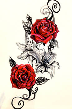 Lily and Rose Tattoo Design