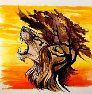 Lion and Acacia Tree