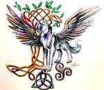Wolf with Celtic Symbols