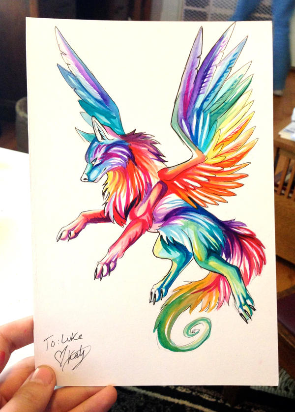 Small Rainbow Wolf by Lucky978