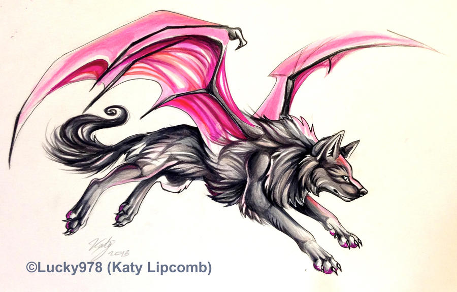 Black Winged Wolf Drawing
