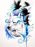 Wolf and Ravens Print- Win Original