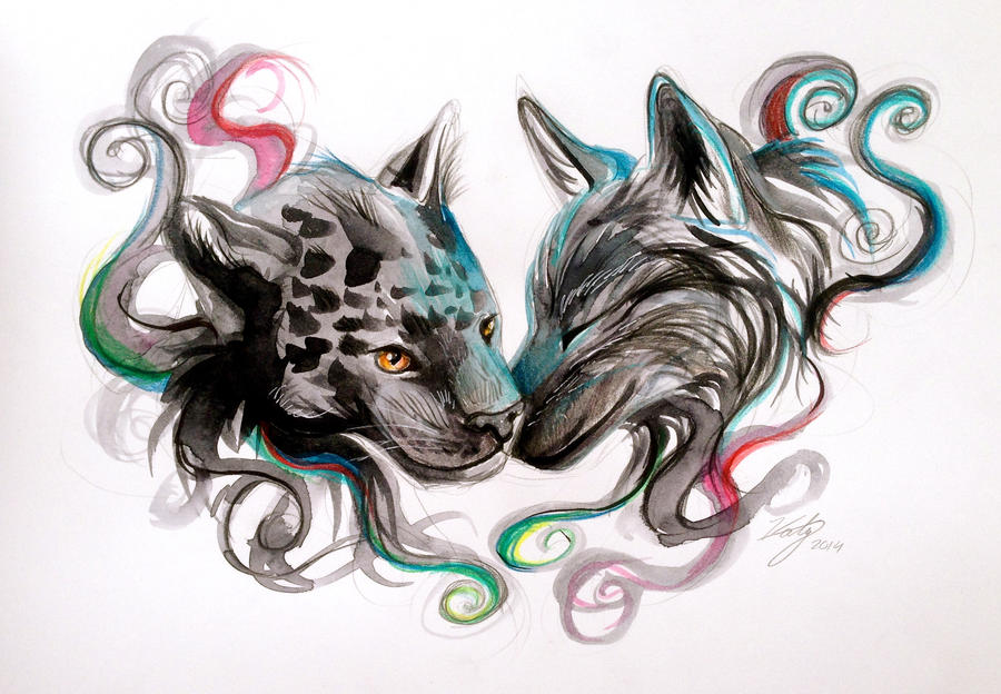 Jaguar and wolf design by lucky978 on deviantart for Dragon and wolf tattoo