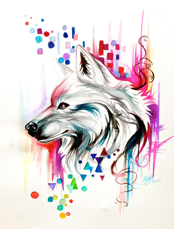 Watercolor Wolf Design On Ebay By Lucky978