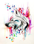 Watercolor Wolf Design (on ebay)