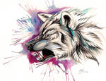 Snarling Wolf Design
