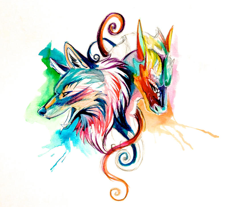 Dragon and wolf sketch design by lucky978 on deviantart for Dragon and wolf tattoo