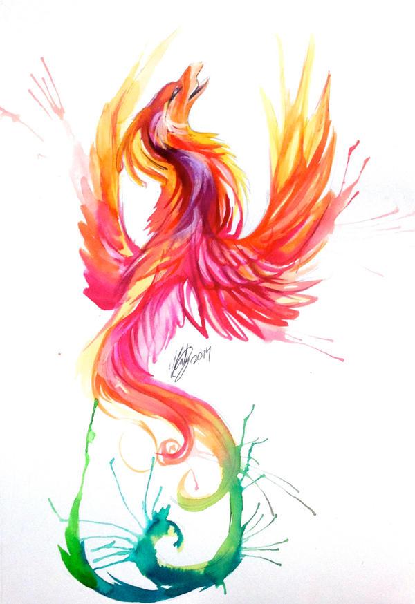 phoenix watercolor design by lucky978 on deviantart. Black Bedroom Furniture Sets. Home Design Ideas