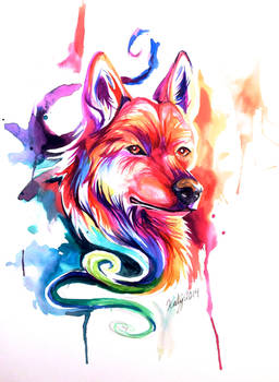 Colorful Watercolor WolfDog