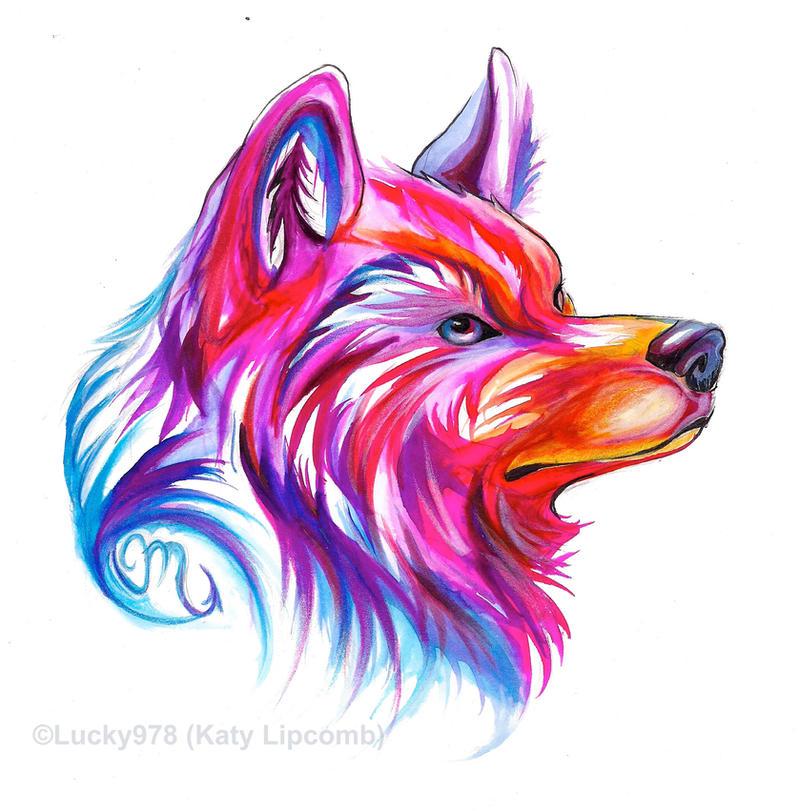 Wolf head design by lucky978 on deviantart for Cool art design ideas