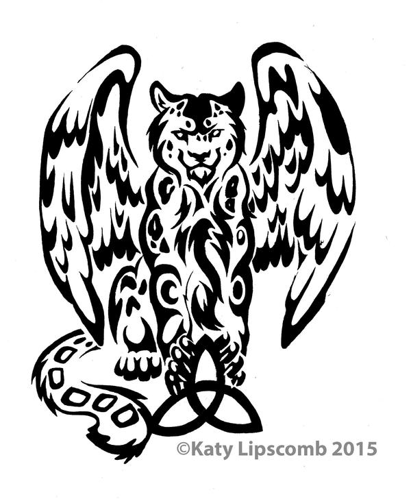 Wallpapers Tribal Animals Animal Tattoo 1024x1024: 12- Tribal Leopard W Wings Commission By Lucky978 On