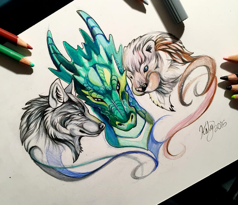Dragon Drawings: 63- Wolf, Dragon, Otter By Lucky978 On DeviantArt