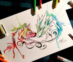 105- Dragon and Wolf by Lucky978