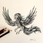 182- Black and Grey Phoenix
