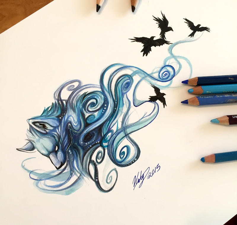 185 blue mystic wolf by lucky978 on deviantart for Fire and ice tattoo shop