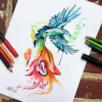 202- Wolf and Raven Watercolor Design