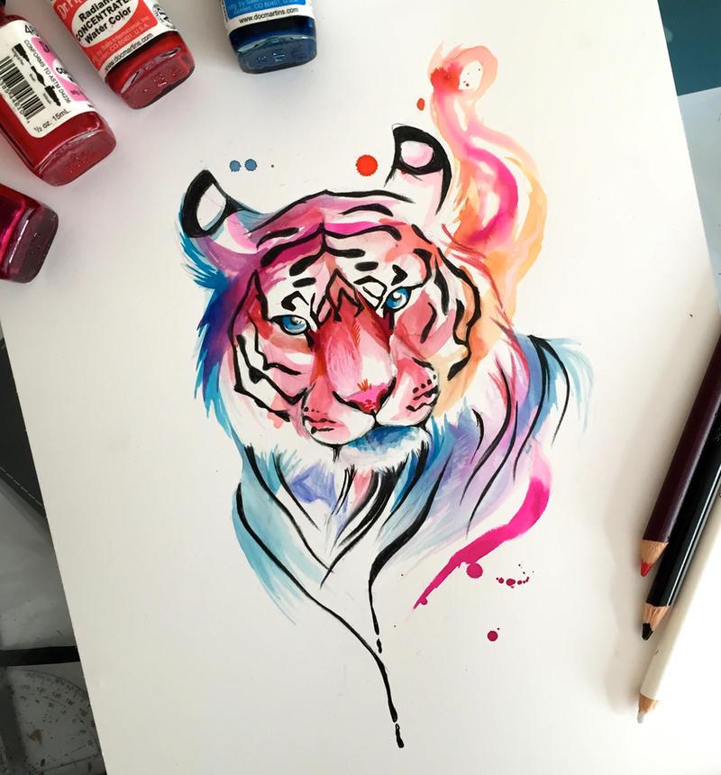 204 watercolor tiger design by lucky978 on deviantart. Black Bedroom Furniture Sets. Home Design Ideas