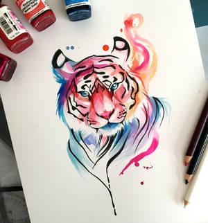 204- Watercolor Tiger Design