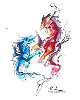 205- Dueling Dragons Watercolor by Lucky978