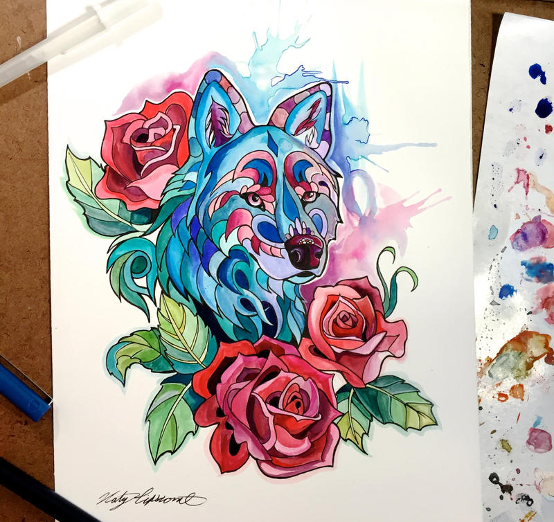 313 rose wolf by lucky978 on deviantart for Tattoo shops katy texas