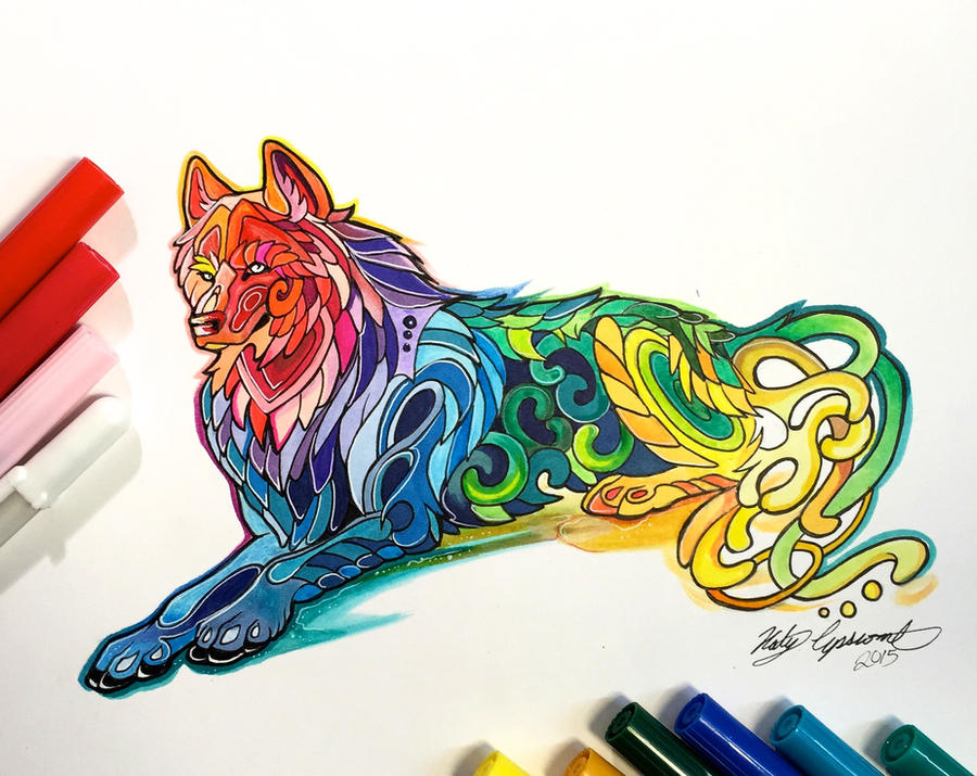 315- Laying Rainbow Wolf By Lucky978 On DeviantArt