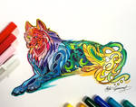 315- Laying Rainbow Wolf
