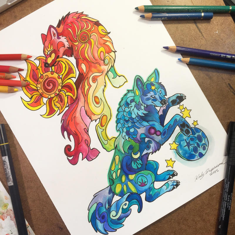 Sun and moon wolves by lucky978 on deviantart for Tattoo shops katy texas