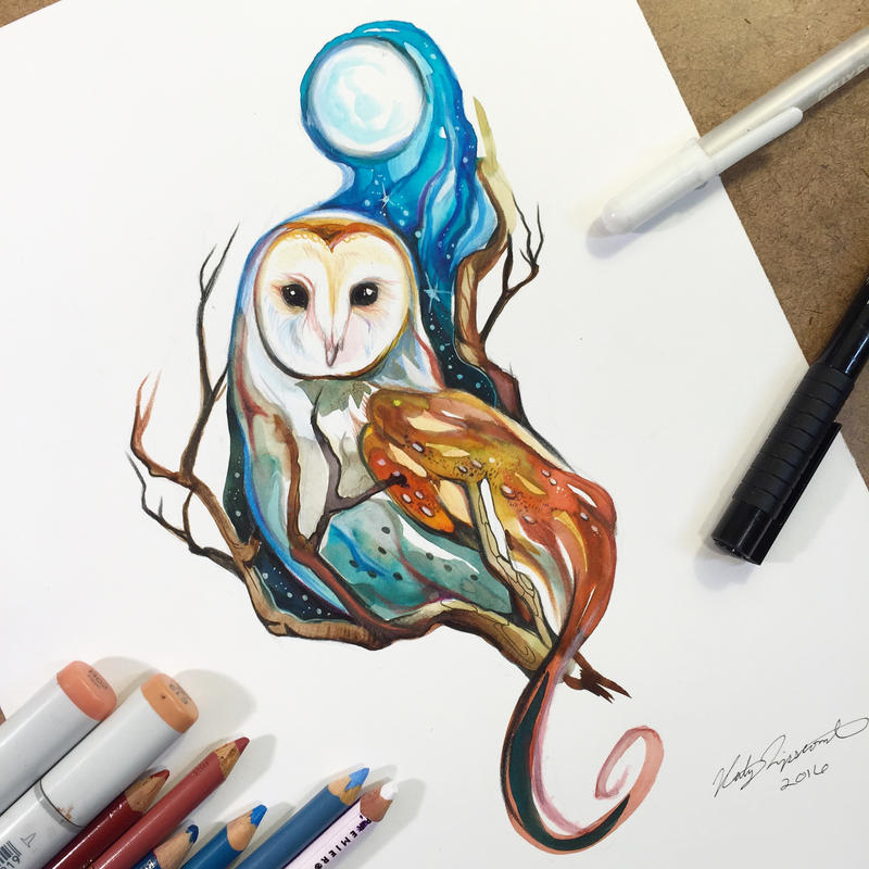 Barn owl commission by lucky978 on deviantart for Tattoo shops katy texas