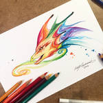 Rainbow Dragon Bust