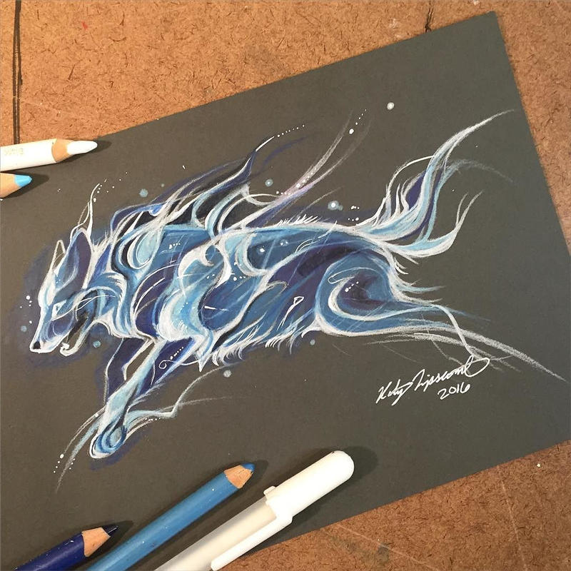 Wolf patronus by lucky978 on deviantart for Tattoo shops katy texas