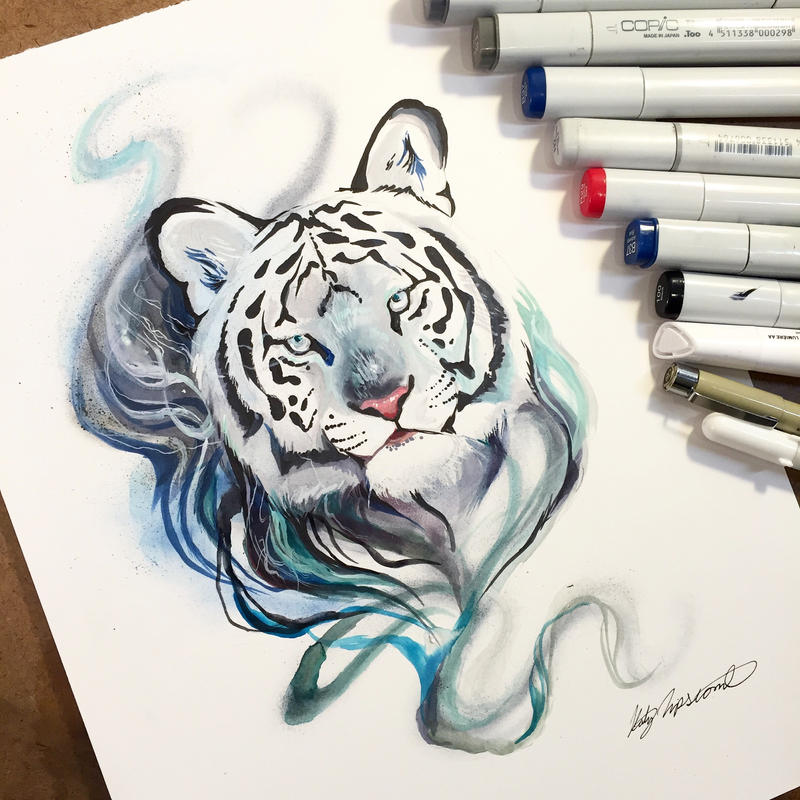 Smokey tiger by lucky978 on deviantart for Tattoo shops katy texas