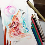 Howling Pastel Wolf