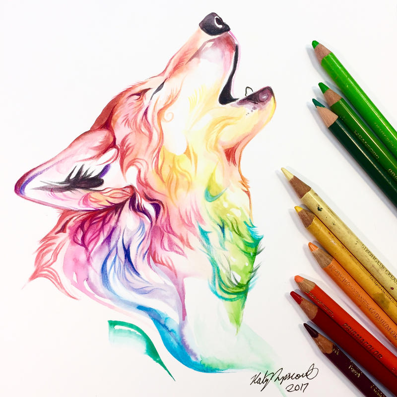 Colorful Howling Wolf by Lucky978 on DeviantArt