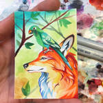 Fox and Parrot Art Card