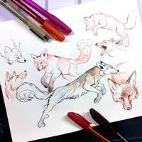 Inktober Day 8- Foxes by Lucky978