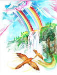 18-Rainbows, Waterfalls, and Birds with Gold Wings