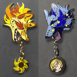 Hati and Skoll Pins by Lucky978