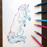 Day 175: Gradient Wolf Lineart